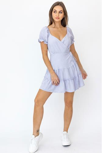 Short Sleeve Tiered Wrap Dress LILAC