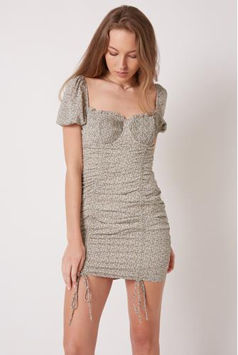 Puff Sleeve Ruched Mini Dress MULTI