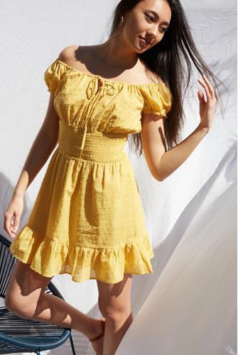 Off The Shoulder Smock Waist Mini Dress YELLOW