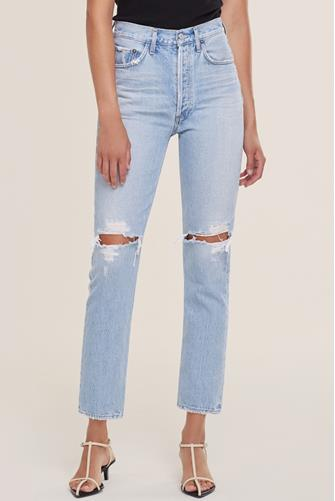 Riley Hi Rise Straight Leg Crop Jean in Clear Skies LIGHT DENIM -