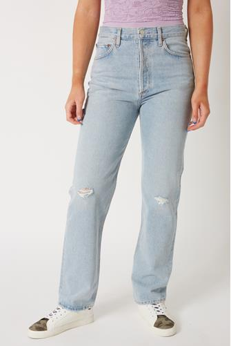 90's Pinch Waist Hi Rise Straight Leg Jean in Flashback LIGHT DENIM -