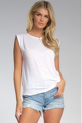 Rolled Sleeve Muscle Tank Top WHITE