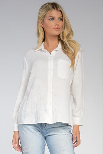 Gauze Button Down Front WHITE