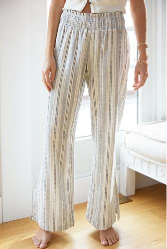 Mixed Stripe Gauze Wide Leg Pant WHITE MULTI -