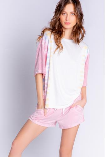 Sunset Hues Tie Dye Short Sleeve Shirt WHITE MULTI -