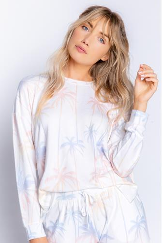 Lounge Life Palm Sweatshirt WHITE MULTI -