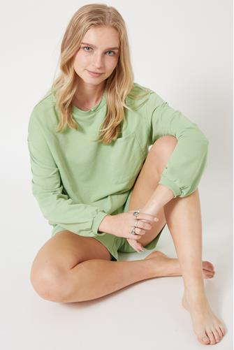 Green Miki Terry Long Sleeve Top MINT GREEN