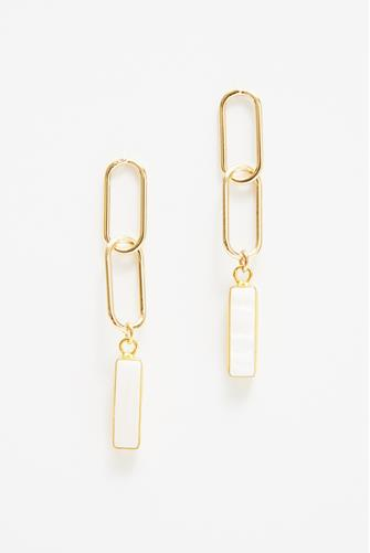 White Stone Rectangle Chain Earrings WHITE