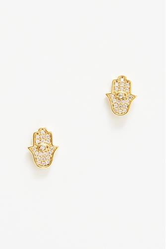 Hamsa Hand Stud Earrings CLEAR