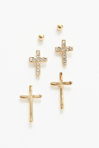 Cross Stud Earrings Set GOLD