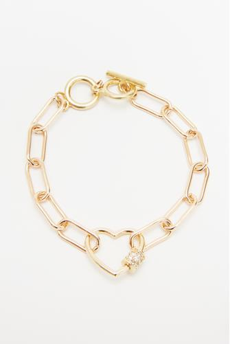 Gold Heart Link Toggle Bracelet GOLD