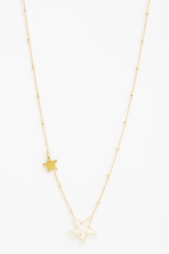 Crystal Beaded Star Pendant Necklace WHITE