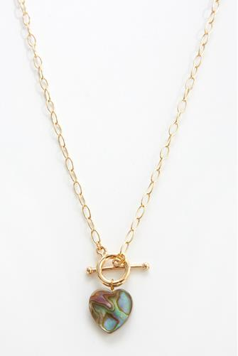 Pearlescent Shell Heart Necklace MULTI