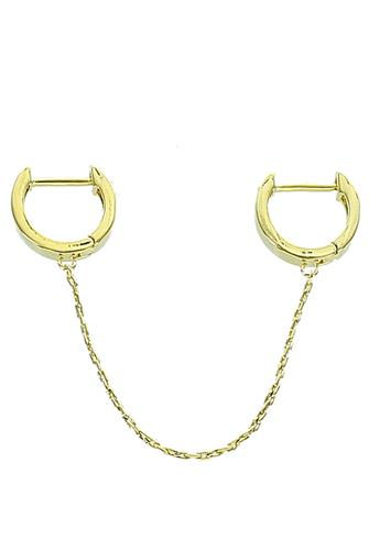 Metal Chain Single Huggie Earring GOLD