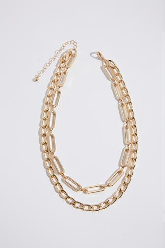 Double Layer Chunky Chain Necklace GOLD