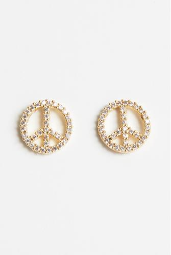 Pave Peace Sign Stud Earrings CLEAR