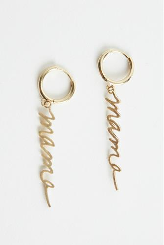 Mama Script Huggie Earrings GOLD