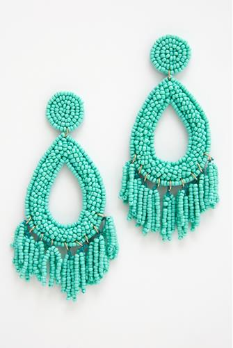 Turquoise Seed Bead Statement Earrings TURQUOISE