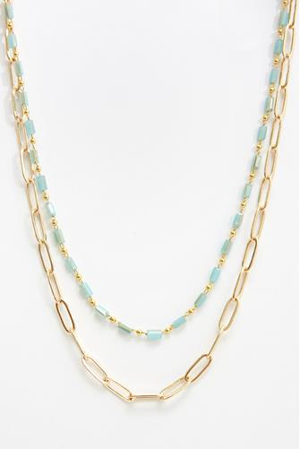 Mint Crystal Double Layer Link Necklace MINT GREEN