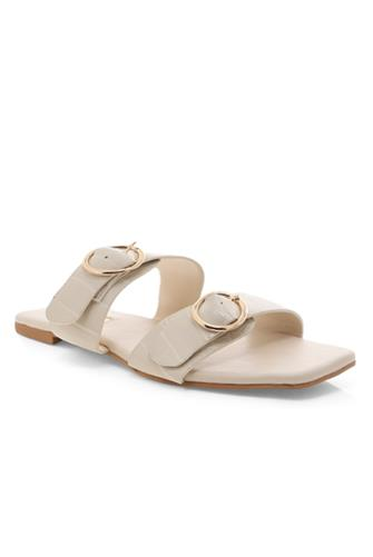 White Clay Croc Alaia Slide Sandal WHITE