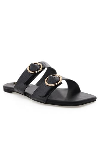 Black Croc Alaia Slide Sandal BLACK