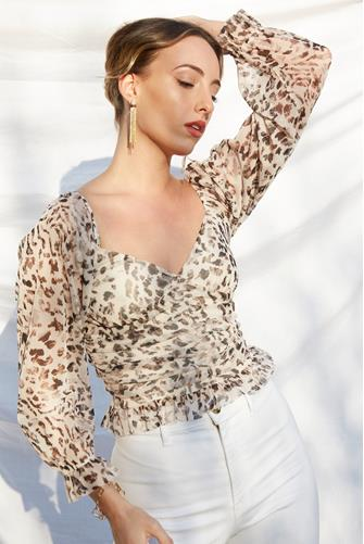 Mesh Animal Print Ruched Blouse NUDE