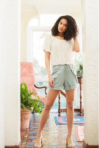 Ruffle Front Short SAGE
