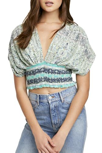 Mint Next Vacation Printed Smock Crop Top MINT GREEN