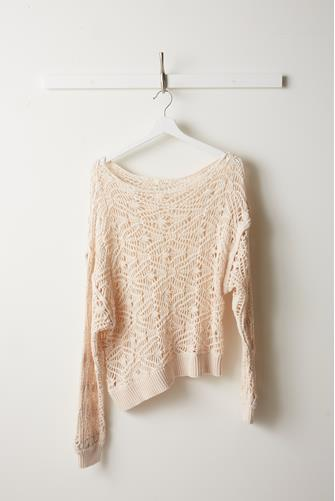 Open Knit Slouchy Pullover CREAM