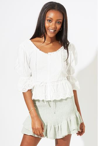 Button Front Eyelet Blouse IVORY