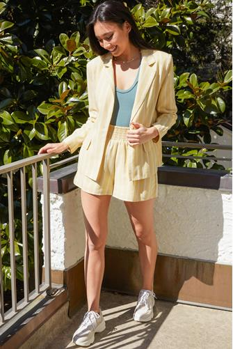 Linen Striped Blazer YELLOW MULTI -