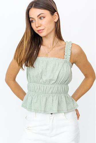 Ruffled Peplum Crop Top SAGE