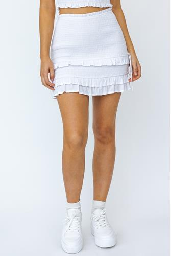 Smocked Ruffle Side Ruched Mini Skirt IVORY