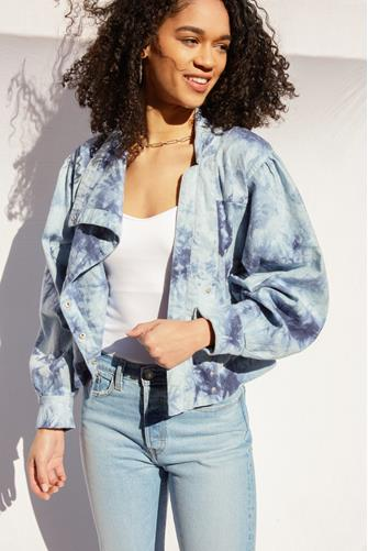 Tide Is High Tie Dye Linen Jacket BLUE