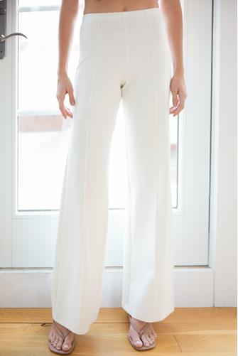 Pull on Knit Flared Pant WHITE