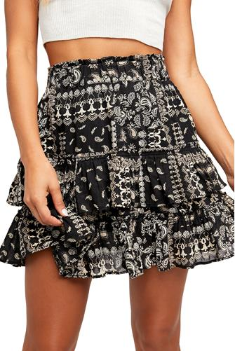 Melissa Printed Ruffle Mini Skirt BLACK MULTI -