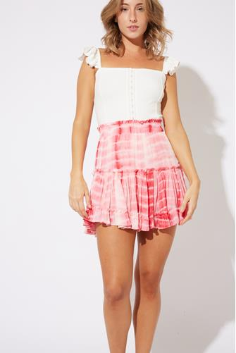 Pink Tie Dye Tiered Ruffle Mini Skirt PINK MULTI -