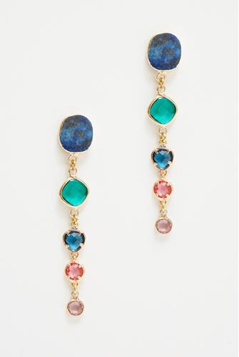 Colored Circle Stone Earrings MULTI