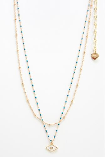 Layered Blue Bead Necklace BLUE