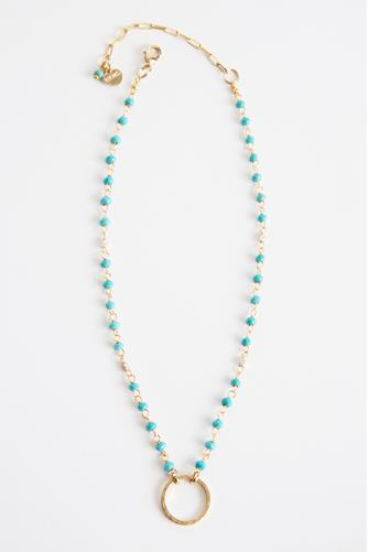 Turquoise & Gold Circle Necklace GOLD