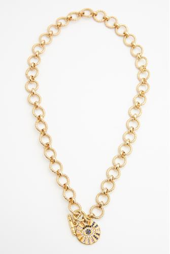 Circle Evil Eye Chain Necklace GOLD