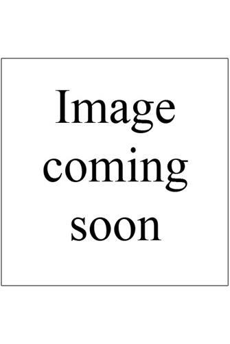 Bead & Chain Half Moon Pendant Necklace PINK