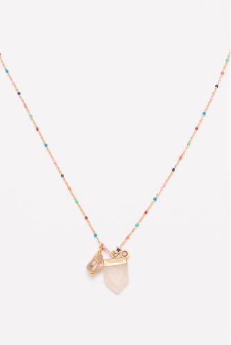 Enamel Chain Crystal Pendant Necklace GOLD