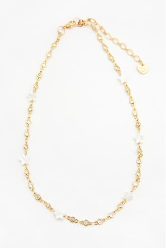 Gold & White Star Chain Necklace GOLD