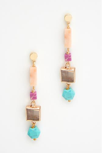 Colored Rectangle Stone Drop Earrings MULTI