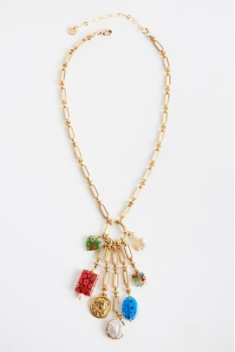 Flower Charm Chain Link Necklace MULTI