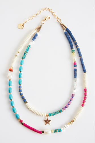Layered Star Charm Beaded Necklace MULTI