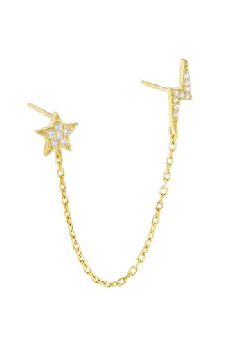 Pave Star x Lightning Chain Stud Earring GOLD