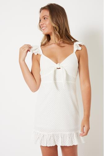 White Stephanie Knot Front Mini Dress WHITE
