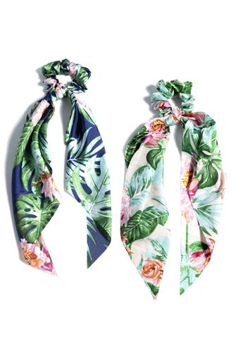 Tropical Scarf Ponytail Two Pack MULTI